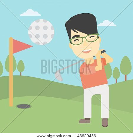 An asian golfer with the beard hitting the ball. Professional golfer on golf course. Young man playing golf. Vector flat design illustration. Square layout.