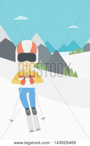 An asian sportsman skiing on the background of snow capped mountain. Skier skiing downhill in mountains. Male skier on downhill slope. Vector flat design illustration. Vertical layout.