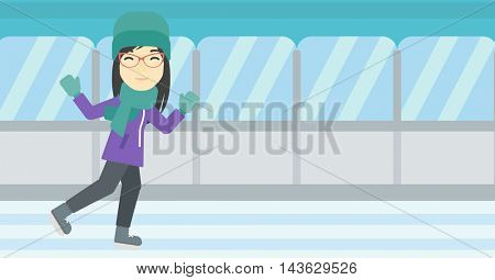 An asian young woman ice skating on indoor ice skating rink. Sport and leisure concept. Vector flat design illustration. Horizontal layout.