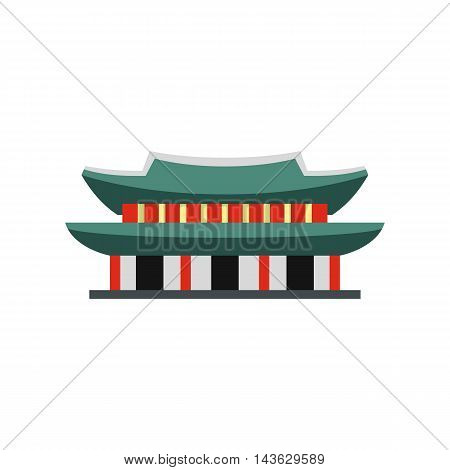 Gyeongbokgung palace in Seoul, Korea icon in flat style on a white background
