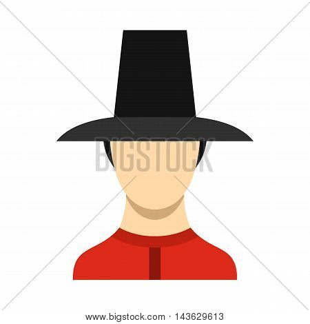 Traditional soldier uniform, South Korea icon in flat style on a white background