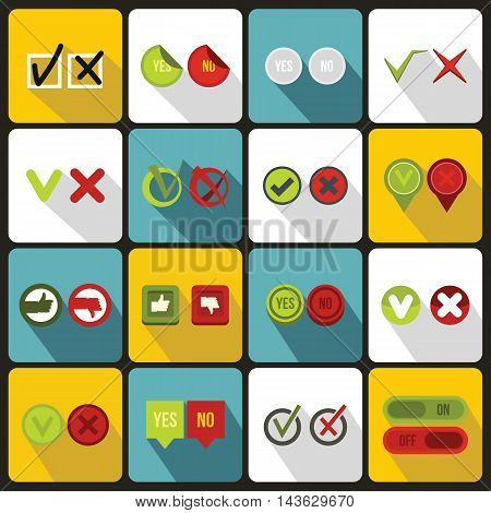 Check mark icons set in flat style. Yes and No set collection vector illustration