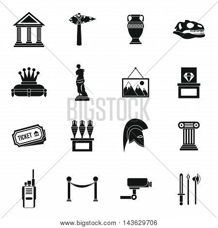 Museum icons set in simple style. Antique and culture symbols set collection vector illustration