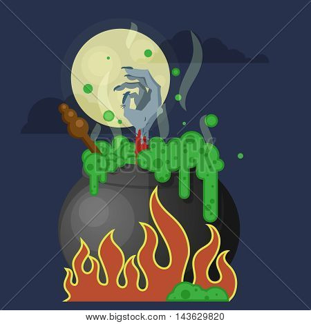 flat color vector halloween illustration. witches cauldron with a boiling green potion and a scary bloody hand