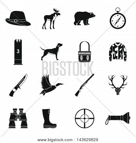 Hunting icons set in simple style. Hunters equipment set collection vector illustration