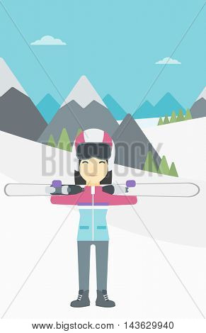 An asian woman carrying skis on her shoulders on the background of snow capped mountains. Vector flat design illustration. Vertical layout.