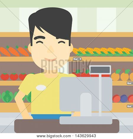 An asian young cashier standing at the checkout in supermarket. Male cashier working at checkout in supermarket. Vector flat design illustration. Square layout.
