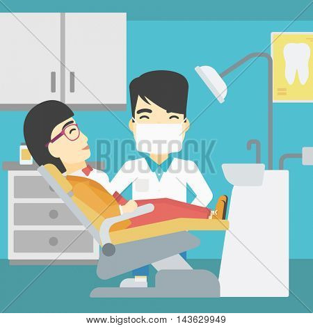 An asian young woman sitting it the chair at the dental office. Male doctor and patient in the dental clinic. Patient on reception at the dentist. Vector flat design illustration. Square layout.