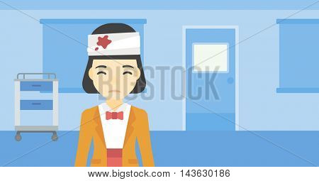 An asian young woman with bandages over her head. Sad woman with a bandaged head in the medical office. Young wounded woman in the hospital. Vector flat design illustration. Horizontal layout.