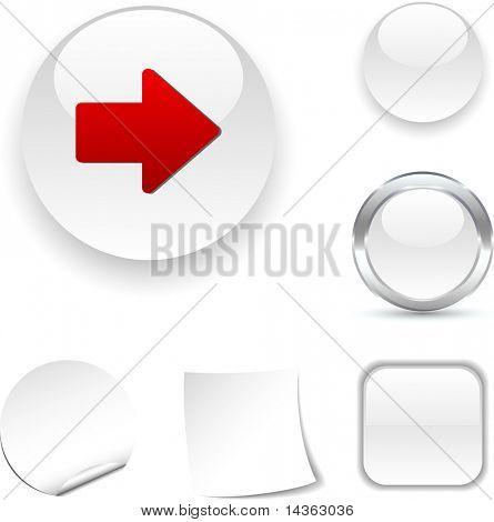 Arrow white icon. Vector illustration.