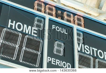 Scoreboard with LED display digital font on a black background.