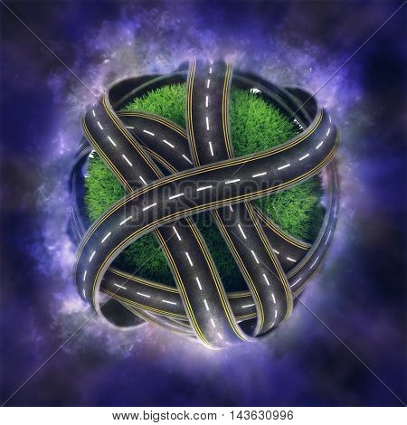 3D render of a grassy globe with road network on nebula background
