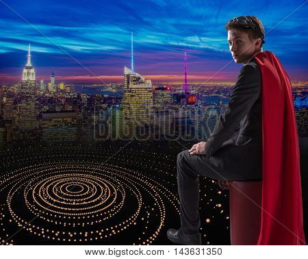 Man with red cover in super hero concept