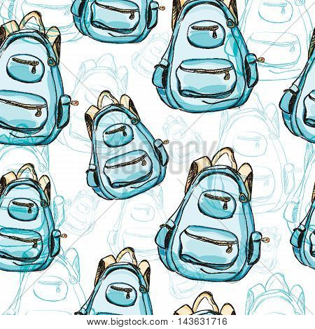 Hand drawn blue backpack seamless pattern. Vector illustration isolated on white. Rucksack, knapsack, haversack, satchel for travel, hiking, students, school. Watercolor style