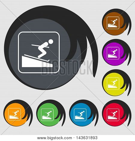 Skier Sign Icon. Symbols On Eight Colored Buttons. Vector