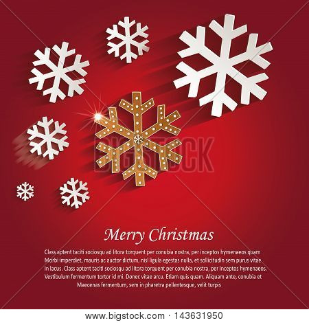 Christmas snowflakes gingerbread greeting card red vector