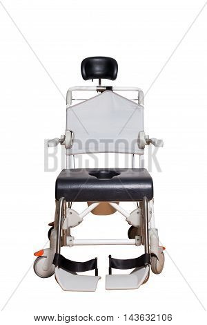 Commode chair for elder. Wheelchair with toilet basket for disposable people isolated