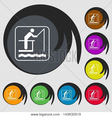 Fishing Sign Icon. Symbols On Eight Colored Buttons. Vector