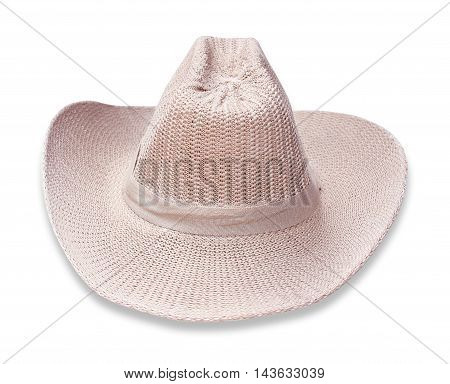 The Pretty straw hat on white background