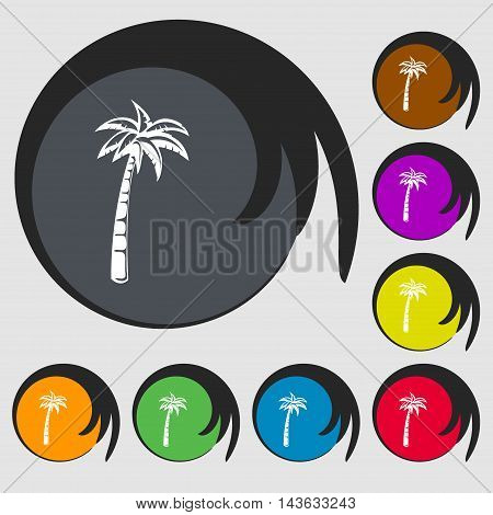 Palm Sign Icon. Symbols On Eight Colored Buttons. Vector
