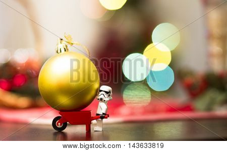 Orvieto, Italy - December 06th 2015: Star Wars Lego Stormtrooper minifigures make a Christmas tree