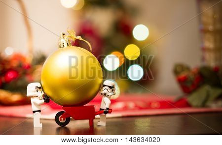 Orvieto, Italy - December 06th 2015: Couple of Star Wars Lego Stormtrooper minifigures make a Christmas tree