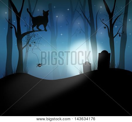 Illustration of forest in midnight with groves and cat on tree