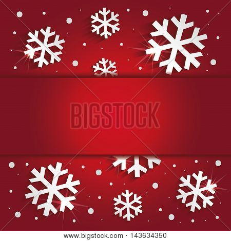 Christmas snowflakes congratulations background red raster blank