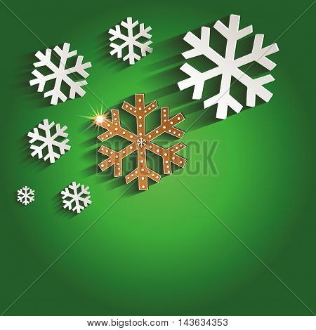 Christmas snowflakes gingerbread greeting card green raster