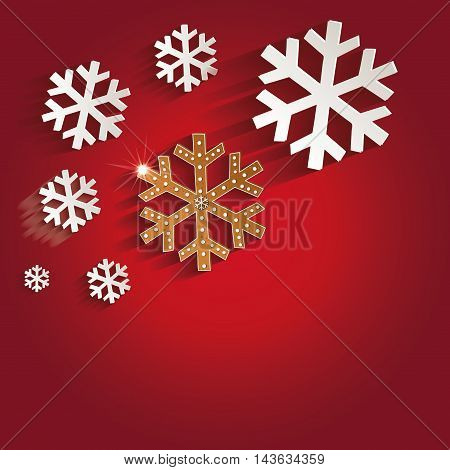 Christmas snowflakes gingerbread greeting card red raster