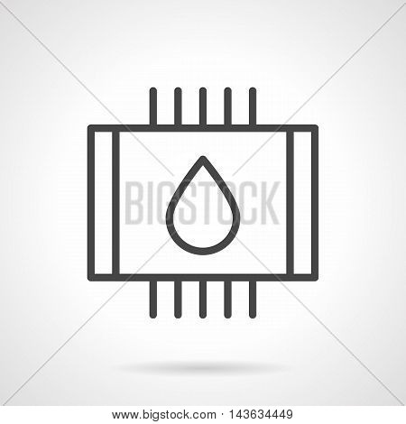 Symbol of water warm floor - abstract pipes with drop sign. Modern technology of heating systems. Single black simple line style vector icon.