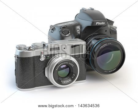 Digital cameras. Dslr and mirrorless stylized to retro vintage cameras isolated on white. 3d illustration