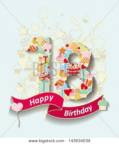 Card invitation with  number and ribbon. Happy Birthday 18 year
