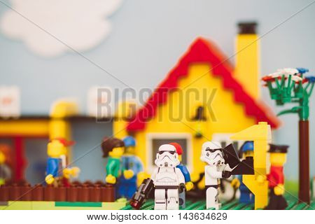 Orvieto Italy - November 22th 2015: Group of Star Wars Lego Stormtroopers minifigures repair a spaceship Lego is a popular line of construction toys manufactured by the Lego Group