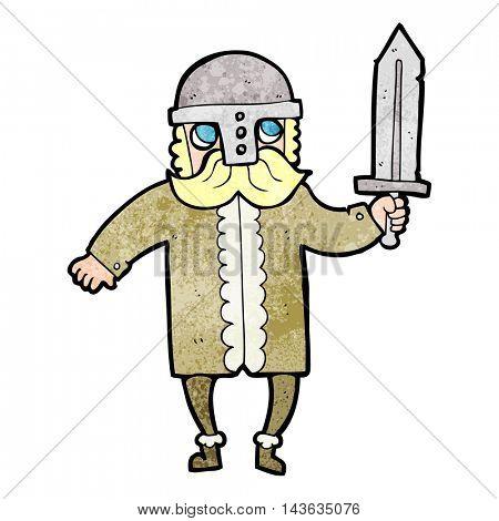 freehand textured cartoon saxon warrior