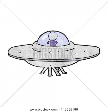 freehand textured cartoon alien flying saucer
