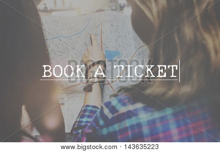 Book a Ticket Now Booking Reservation Holding Concept