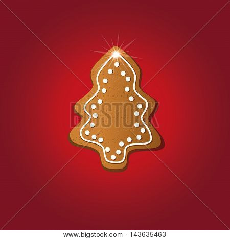 Christmas tree gingerbread greeting card red raster