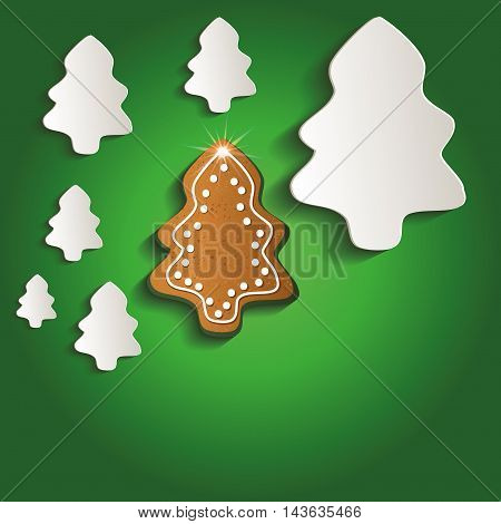 Christmas trees gingerbread greeting card green raster