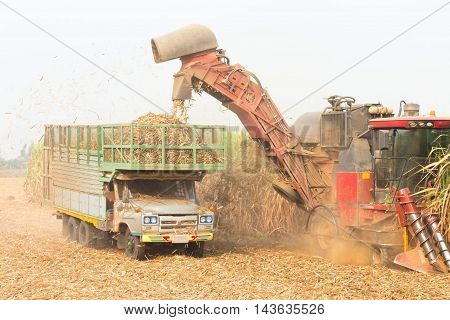 sugarcane harvester, four-wheel tractor Agriculture industry in Thailand