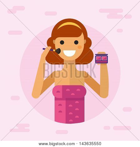 Flat vector illustration of beautiful smiling girl in towel make up her face with blush and brush and enjoying. Flat style make up concept.