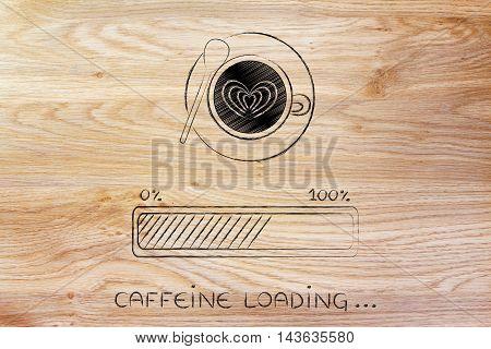 Latte Art Coffee Cup & Progress Bar Loading Awakeness