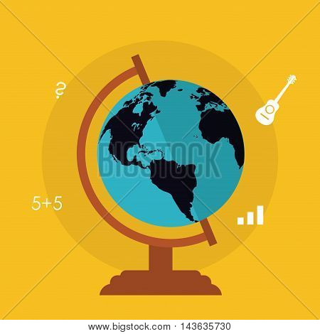 planet sphere education learning school icon. Colorful design. Vector illustration