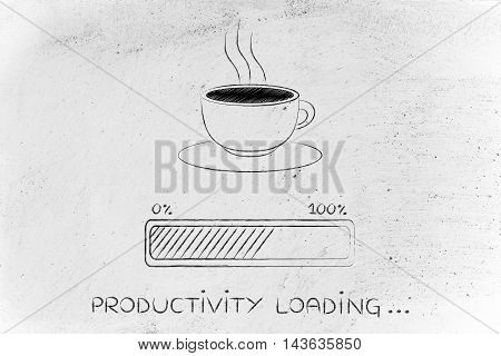 Coffee Cup & Progress Bar Loading Productivity
