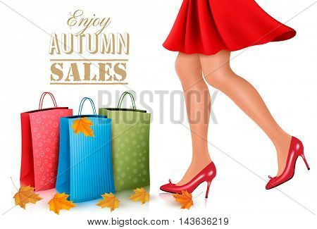 Autumn sales background with shopping bags and a woman in heels. Vector.