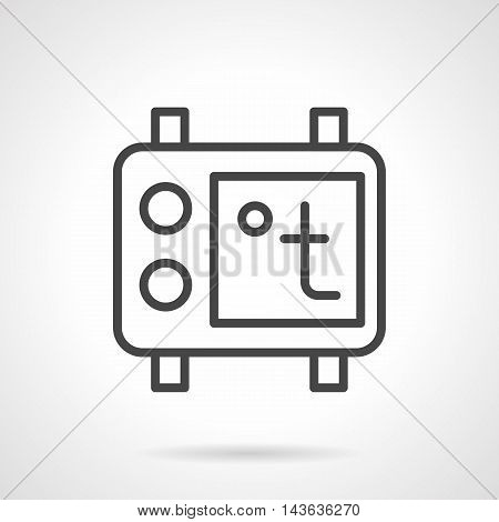 Thermostat with regulation buttons and temperature sign. Underfloor heating and climatic appliances system for house. Single black simple line style vector icon.