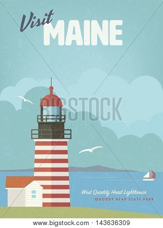 Retro Maine Holidays flat design poster or greeting card with West Quoddy Head lighthouse at Cobscook Bay