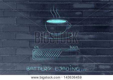 Coffee Cup & Progress Bar Loading Battery