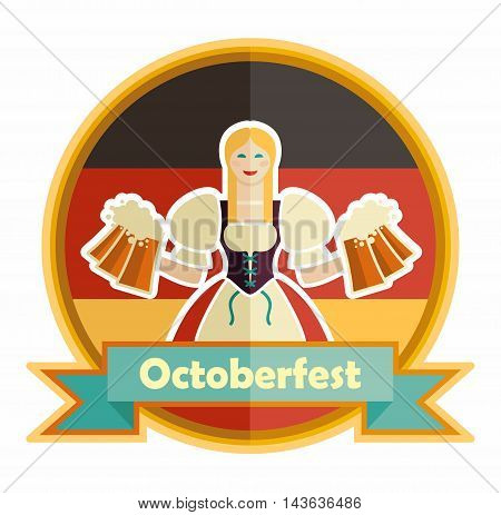 Bavarian girl with beer. Oktoberfest label with ribbon banner and space for text isolated