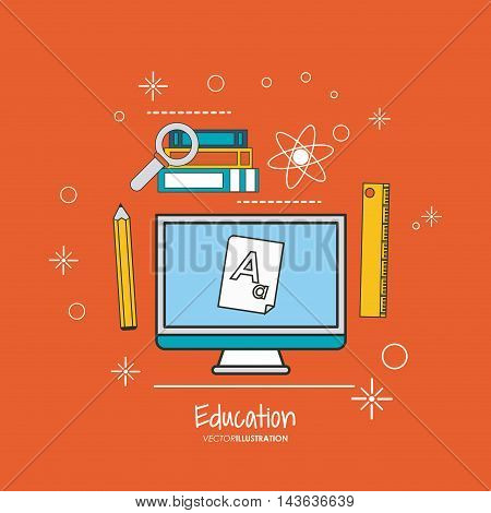 computer ruler pencil books lupe education learning school icon. Colorful design. Vector illustration